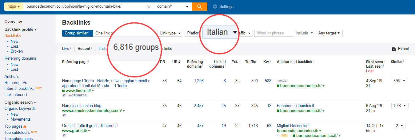 ahrefs backlinks language filter