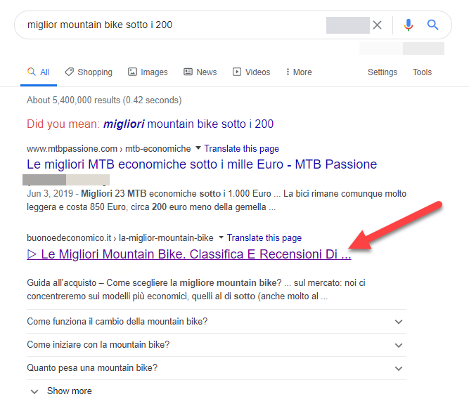 google SERPs best mountain bikes under 200 in italian
